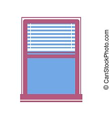 Window Half-Closed Jalousie Vector Illustration