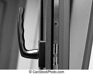 Window handle on fiberglass opened window.