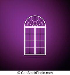 Window icon isolated on purple background. Flat design. Vector Illustration