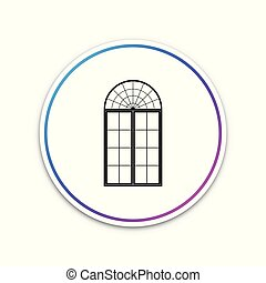 Window icon isolated on white background. Circle white button. Vector Illustration