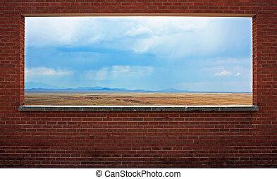 Window in a brick wall