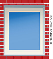 Window in a red brick wall, file EPS.8 illustration.