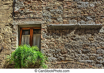 window in a rustic facade in San Gimignano
