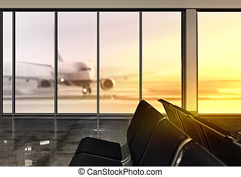 window in airport at morning