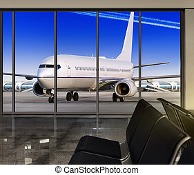 window in airport at sun day