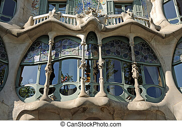 Window in Antoni Gaudis Casa Batllo, Barcelona Spain
