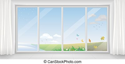 Window in different seasons - Panoramic modern white window...