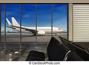 window in empty  airport