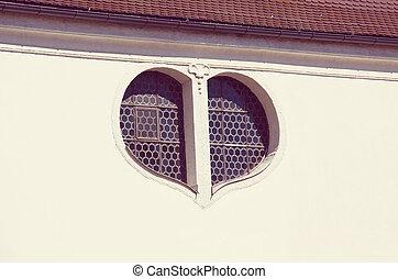 Window in form a heart