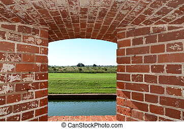 Window in Fort Pulaski - Looking out a window in Fort ...