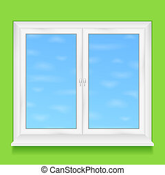 Window in green wall, vector eps10 illustration