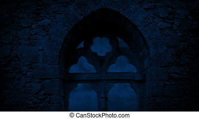 Window In Medieval Ruins At Night - Full moon seen through...