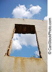 Window in old broken house.