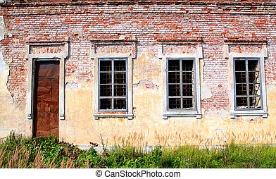 window in old destroyed house