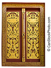 Window in public temple made of wood and painted with beautiful colour on white background