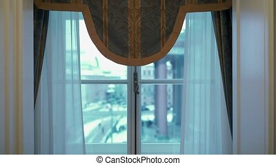 Window in room with view at winter city