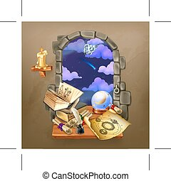 Window in the castle, magic and astrology illustration