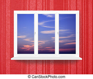 window in the room with view to dark sunset