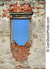 Window in the ruins of the Gothic castle
