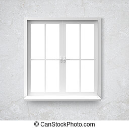 window in wall - Window isolated on gray background