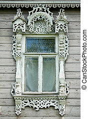 Window in wooden russian house