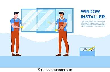 Window installation concept - Windows installation concept. ...
