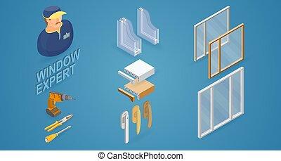 Window installation service. Isometric concept. Worker, equipment.