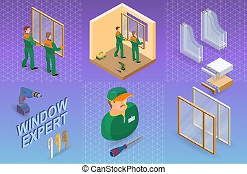 Window installing service. Isometric concept. Worker, equipment.