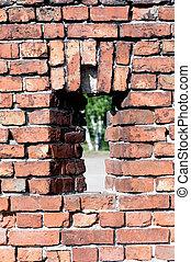 window into a brick wall