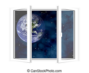 Window into sky - Picture of the window with view on space