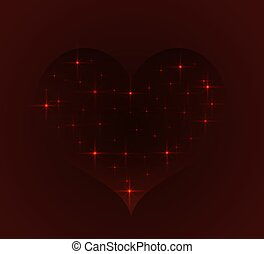 window into space in the form of heart