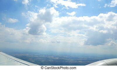 Window island sky airplane - View through an airplane window...