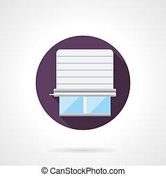 Window jalousie round flat vector icon