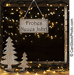 window lights in night frohes neues means happy new year