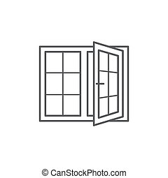 Window line icon on white background