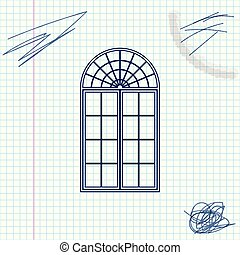 Window line sketch icon isolated on white background. Vector Illustration