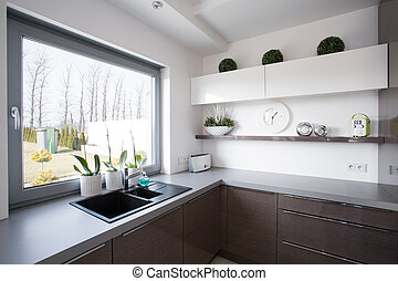 Window look from contemporary house