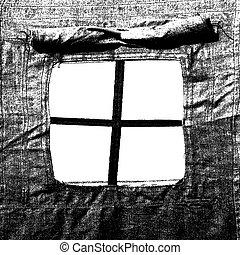 Window,  military tent as a frame. Vector illusrtation.