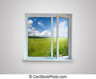 Window - New closed plastic glass window frame isolated on...