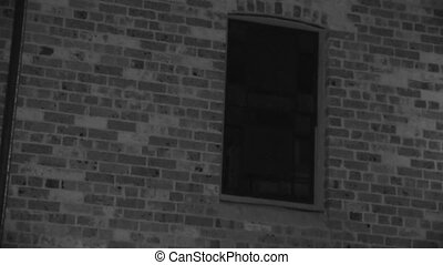 Window of a haunted house - A moving full shot of a window...