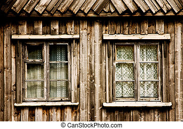 Window of a wooden cottage