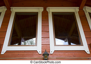window of a wooden house cottage
