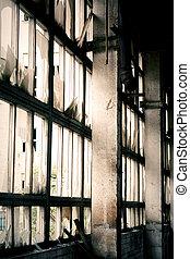 Window of abandoned factory