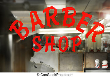 "Barber Shop - Window of an old fashioned ""Barber Shop"""