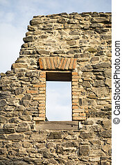 Window of an old stone wall