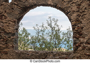 Window of ancient stone