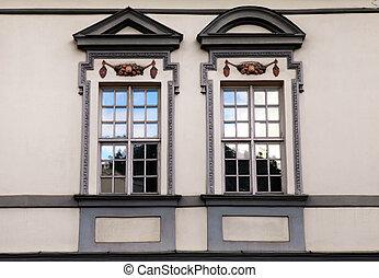 Window of old buildings in Old Town of Vilnius
