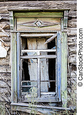 window of old destroyed house