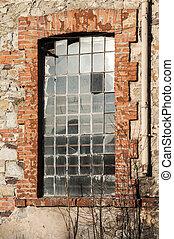 Window of old industrial building