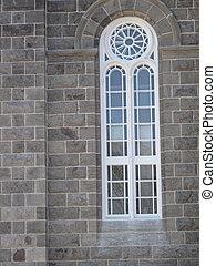 Window of old stone church